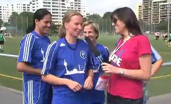 Gay Games 2010 - Bridget kicks it with the soccer ladies