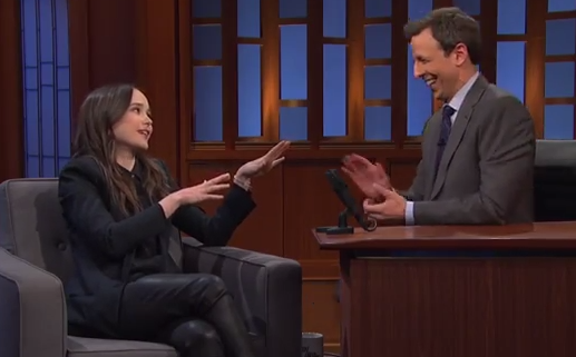 Late Night with Seth Meyers - Ellen Page Crushes on Rachel Maddow