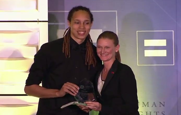 Brittney Griner receives the HRC Visibility Award