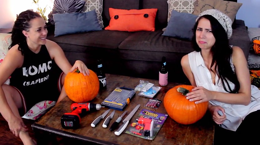 Stevie & Sarah - Lesbians Carving Pumpkin